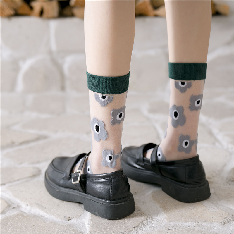 2020 Spring Flowers Patterned Thin Transparent Women Socks Patchwork Color Casual Ankle Socks For Female Soft Comfortable Sox