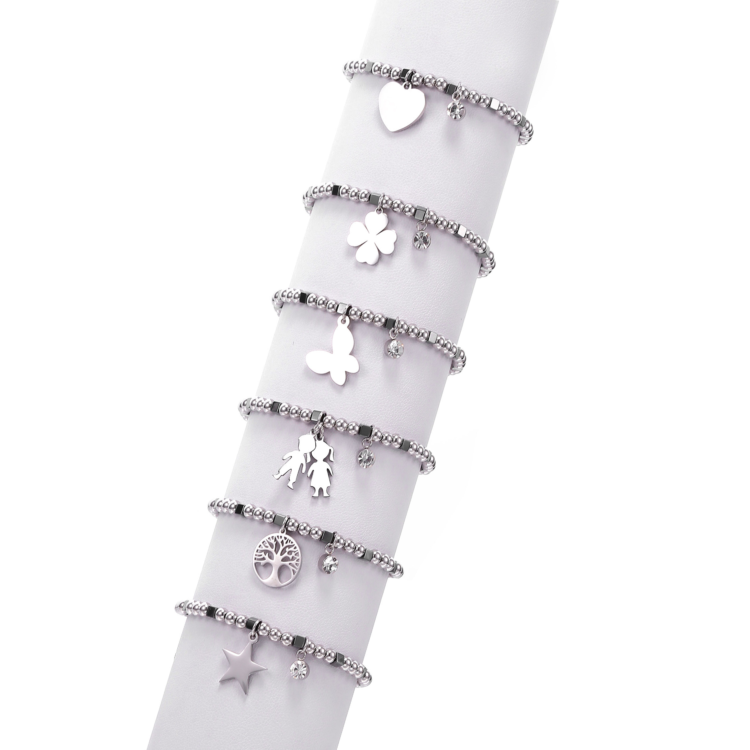 Simple Heart Star Figure Tree of Life Four Clover Charm Bracelet Stainless Steel Beads Crystal Bracelet Women 2019 Steel Jewelry(China)