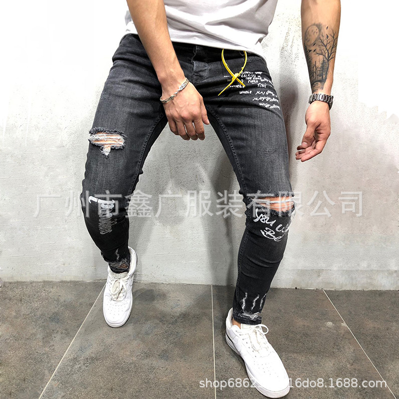 Europe And America Autumn MEN'S Jeans Elasticity With Holes English Printed Gray Skinny Pants A Nk58
