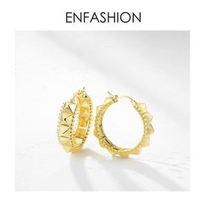 Image 3 - ENFASHION Punk Pyramid Hoop Earrings For Women Gold Color Small Circle Hoops Earings Fashion Jewelry Aros De Moda 2020 E191102