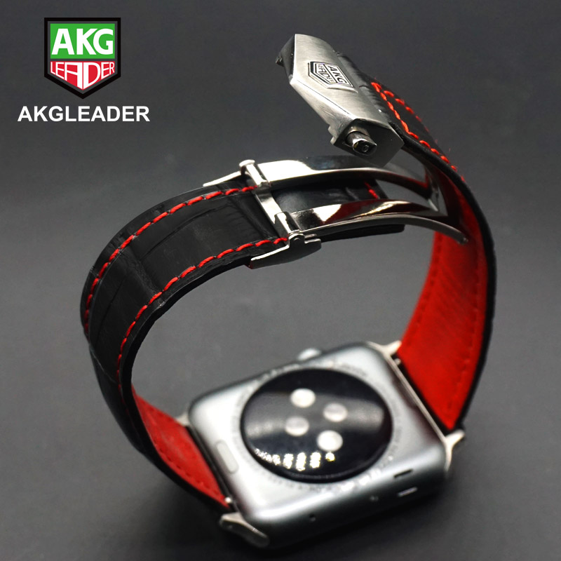 AKGLEADER Watch Band For Apple Series 5 4 40/44mm Genuine Leather Wrist Strap Folding Buckle Bracelet For Apple IWatch 3 2 42mm