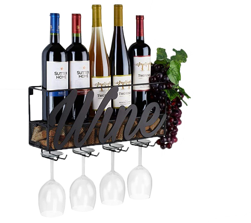 2 IN 1 Wall Mounted Wine Rack Home Bar Decor Wine Glass Hanging Holder Goblet Stemware Storage Organizer Rack With Cork Tray