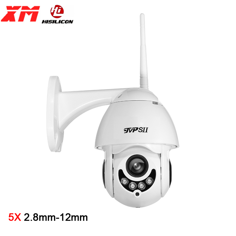 Hi3516E 1080P 2MP Infrared IP66 Outdoor 128G 25fps H.265+ 5X 2.8mm-12mm Auto Zoom Audio PTZ Rotate WIFI Speed Dome IP Camera image