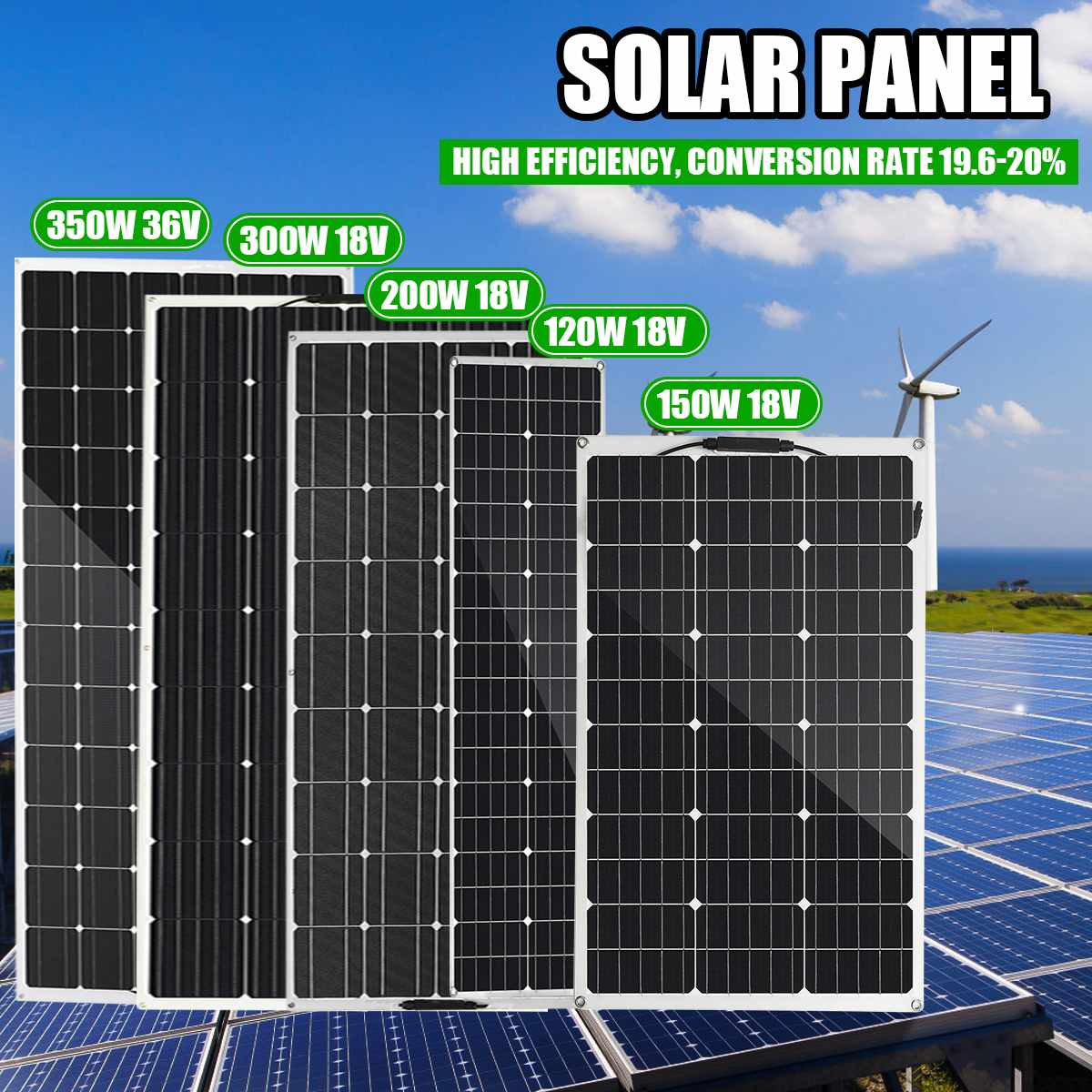 18V 36V Semi-flexible <font><b>Solar</b></font> <font><b>Panel</b></font> 120W/150W/200W/<font><b>300W</b></font> USB <font><b>Solar</b></font> Cell DIY Module Outdoor Connector Battery Charger for RV Boat image
