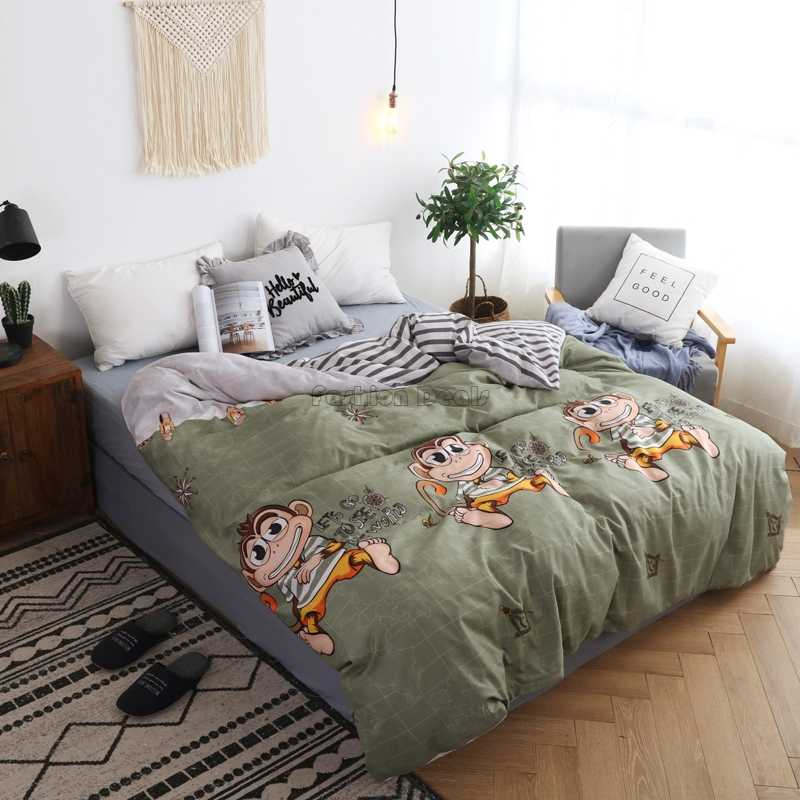 Cartoon Naughty Monkey Duvet Cover Adult Kids Soft Cotton Quilt Cover Comforter Cover Case Twin Full Queen King Super King Size