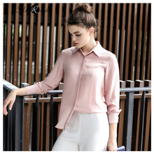 Silviye 2020 spring silk shirt women's Long Sleeve Silk women's solid color fashionable foreign style shirt