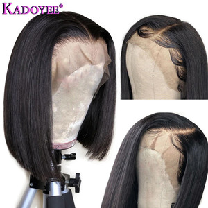 Image 4 - Natural Color Bob Wig Lace Front Human Hair Wigs Brazilian Remy Hair Straight Short Wig with Baby Hair Pre Plucked For Women