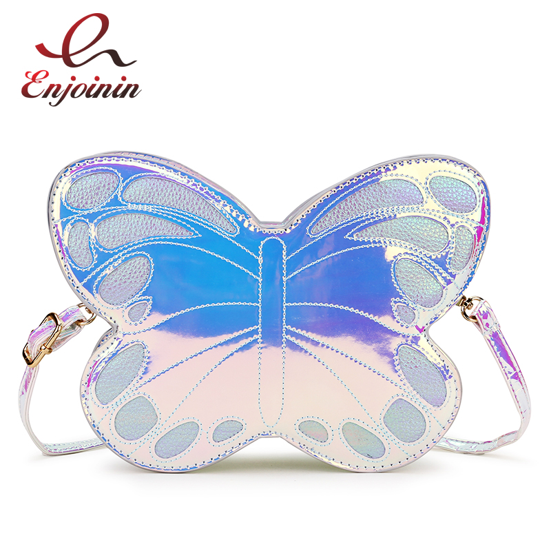 Cute Reflective Laser Butterfly Design Fashion Girl's Handbag Shoulder Bag Tote Bag Crossbody Bag Women Casual Clutch Bag Bolsa