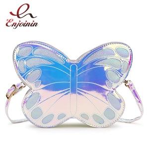 Image 1 - Cute Reflective Laser Butterfly Design Fashion Girls Handbag Shoulder Bag Tote Bag Crossbody Bag Women Casual Clutch Bag Bolsa