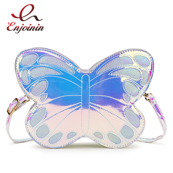 Cute Reflective Laser Butterfly Design Fashion Girl's Handbag Shoulder Bag Tote Bag Crossbody Bag Women Casual Clutch Bag Bolsa cute women s crossbody bag with tassels and smile pattern design