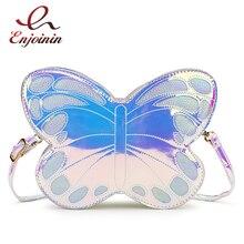 Niedlich Reflektierende Laser Schmetterling Design Mode Mädchen Handtasche der Schulter Tasche Tote Bag Umhängetasche Frauen Casual Kupplung Tasche Bolsa