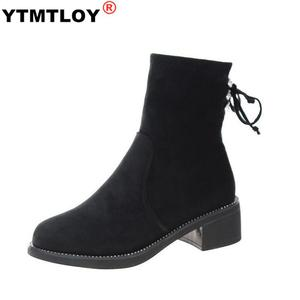 Boots Women's Flat Boots Wild Cotton Shoes Casual Comfortable Warm Women's Boots Ankle Winter Cross-tied Plush Heel Boots