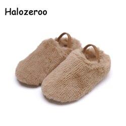 Nieuwe Winter Baby Meisjes Warme Schoenen Kinderen Beige Merk Loafer Peuter Sweet Flats Kinderen Slip Op Schoenen Mode Mocassin Zachte schoenen-in Leren Schoenen van Moeder & Kinderen op