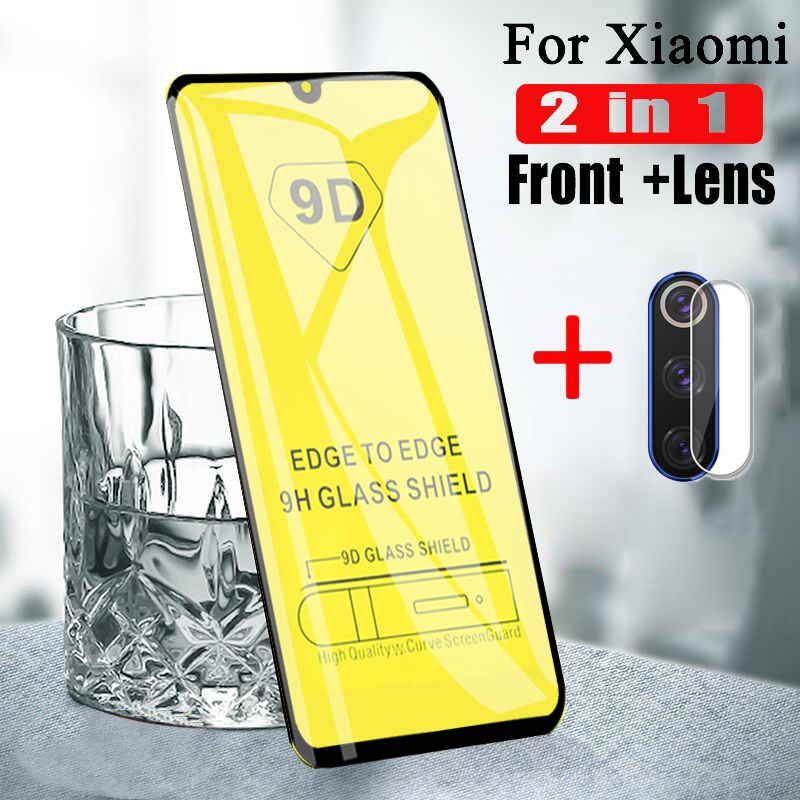 2 in 1 9D Tempered Glass for <font><b>Xiaomi</b></font> Mi6 Mi8 Mi8 Lite <font><b>Mi9</b></font> Mi A1 A2 Mi Max3 Mi mix 2s <font><b>Camera</b></font> Back Lens Screen <font><b>Protector</b></font> Glass Film image