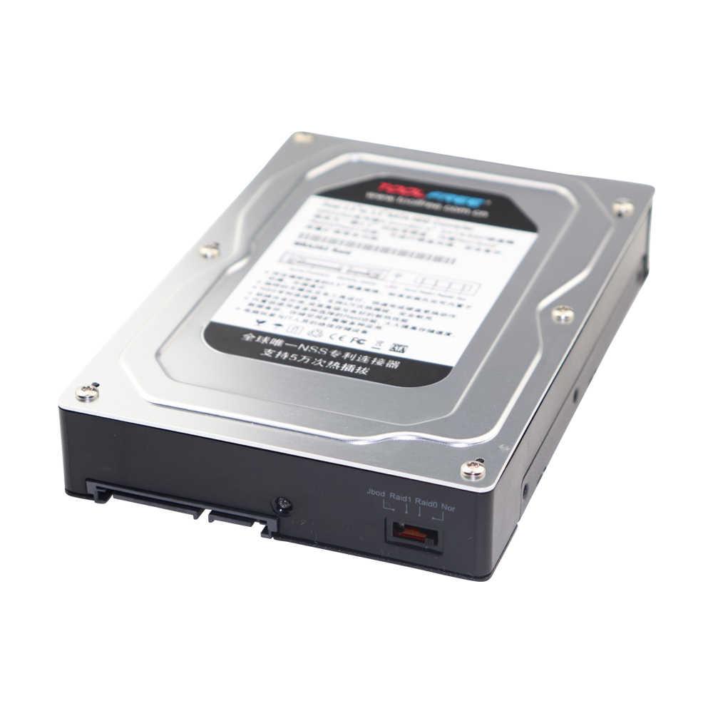 Double baie sans outil 2.5 pouces à 3.5 pouces SATA boîtier adaptateur de disque dur prend en charge SATA III, RAID 0, RAID 1, JBOD, Nor