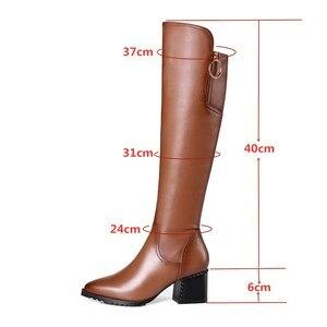 Image 2 - Stile britannico della pelle bovina materiale con cerniera decorativa stivali a punta di spessore tacco alto cerniera laterale suole di gomma stivali invernali donne