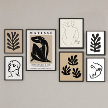 Абстрактная линия Матисса, боди-арт, листья, растения, настенная живопись на холсте, скандинавские постеры и принты, настенные картины для д...