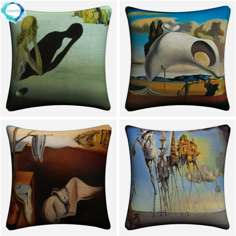 Salvador Dali Surreal Abstract Art Oil Painting Decorative Cotton Linen Cushion Cover Pillow Case For Sofa Home Decor 45x45cm Big Discount Bdd83b Cicig