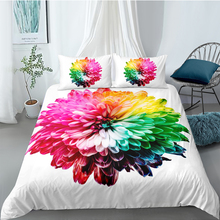 Colorful Flower Bedding Set King Size Fresh Beautiful White Duvet Cover Queen Twin Full Single Double Unique Design Bed Set цена 2017