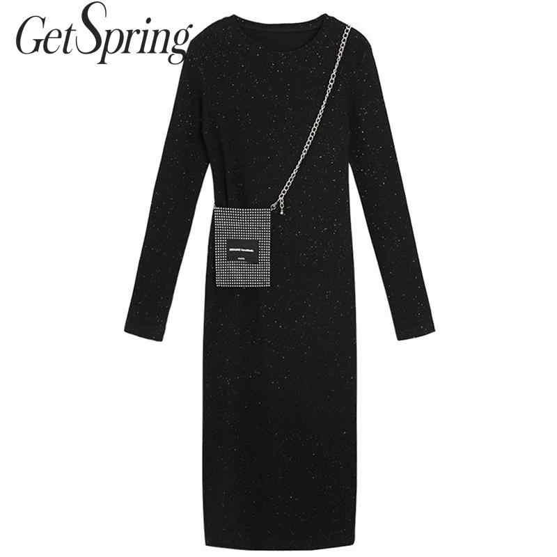 GetSpring женское платье с длинным рукавом вязаное платье яркое Черное длинное раздельное платье универсальные платья с пышной юбкой осень-зима