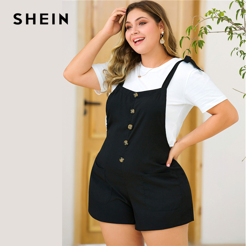 SHEIN Plus Size Black Tie Shoulder Button Front Pocket Detail Romper Women Summer Sleeveless Straps Solid Casual Playsuits 2