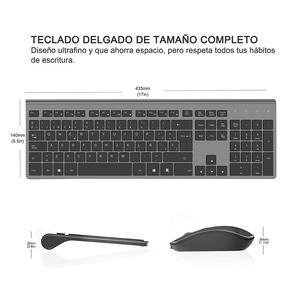 Image 2 - Clavier et souris sans fil, disposition espagnole, batterie rechargeable, connexion USB stable, adapté pour ordinateur portable, ordinateur, gris