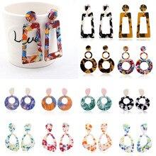 Big Bohemia Colorful Acrylic Drop Earring for Women Vintage Resin Long Statement Dangle Earring Korean Female Jewelry Brincos