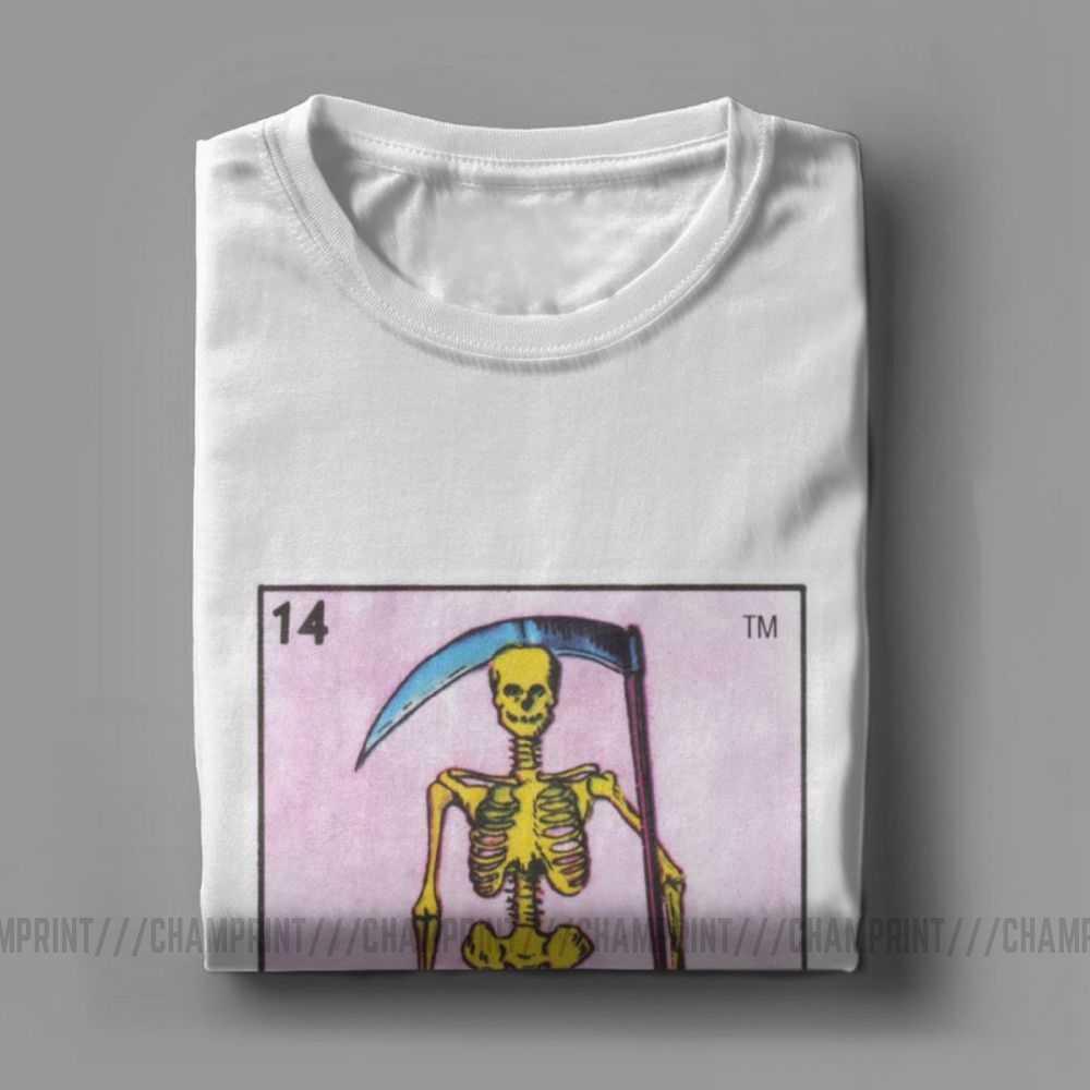 Camisetas para hombre, Loteria mexicana Bingo Death Card, camiseta Vintage 100% de algodón, camiseta de manga corta, ropa estampada