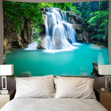 waterfall mountain rock natural scenery print tapestry wall hanging real effect lifelike bohemian wall blanket hippie carpets Forest waterfall scenery cheap tapestry art psychedelic wall hanging beach towel mandala decoration thin blanket yoga