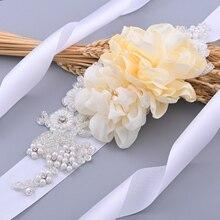 Belts Accessories Dress Evening-Dresses-Belt Flowers Bridal-Sash Wedding Ivory Women