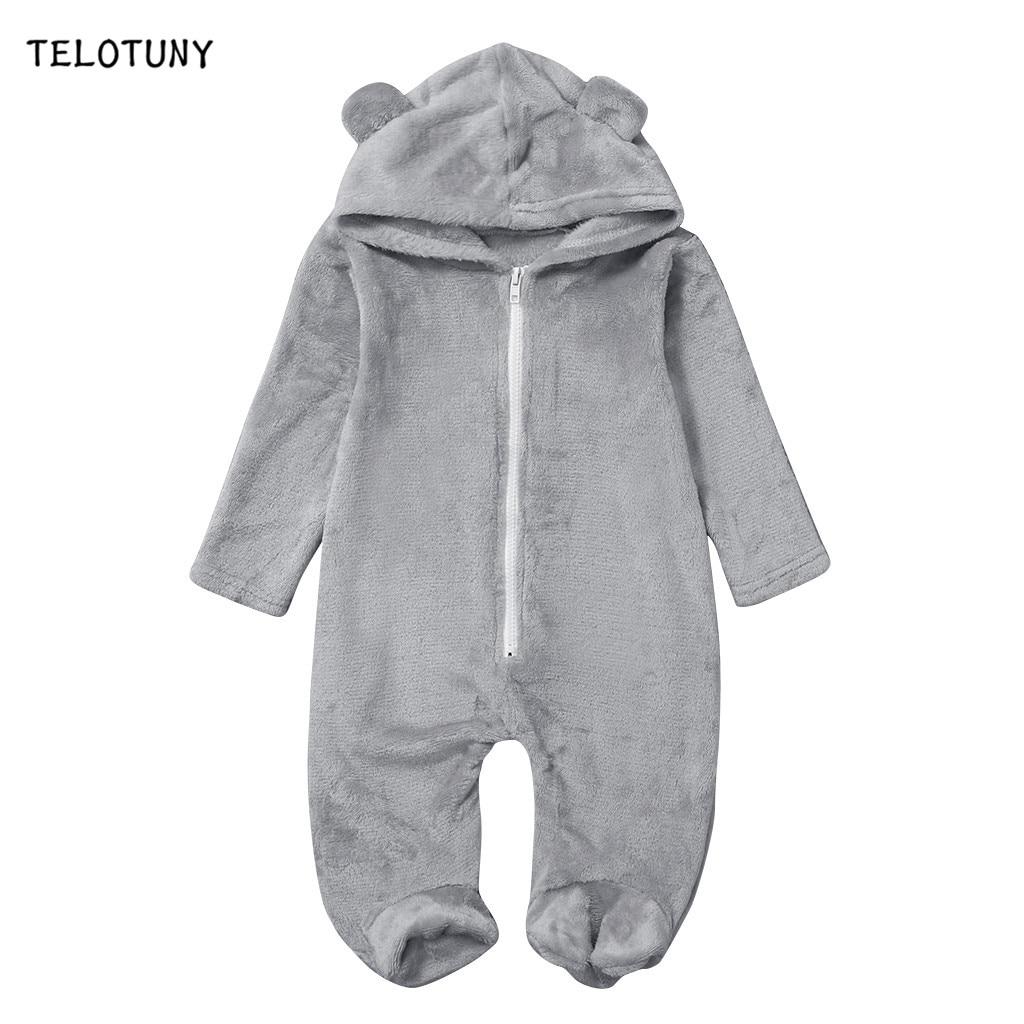 TELOTUNY Newborn Clothing 2019 Autumn Winter Fleece Baby Romper For Boy Girl Solid Hooded Jumpsuit Toddler Warm Coat Outwear 902