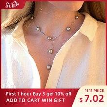 Ashiqi Echte Pure 925 Sterling Zilveren Ketting Hanger Ketting Voor Vrouwen 8 9Mm Wit Grijs Natuurlijke Zoetwater Barokke parel Sieraden