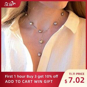 Image 1 - Ashiqi Echte Pure 925 Sterling Zilveren Ketting Hanger Ketting Voor Vrouwen 8 9Mm Wit Grijs Natuurlijke Zoetwater Barokke parel Sieraden