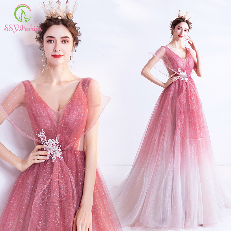 SSYFashion New Sweet Gradient Pink Evening Dress V-neck Sequins Appliques Floor-length Long Romantic Princess Formal Party Gown