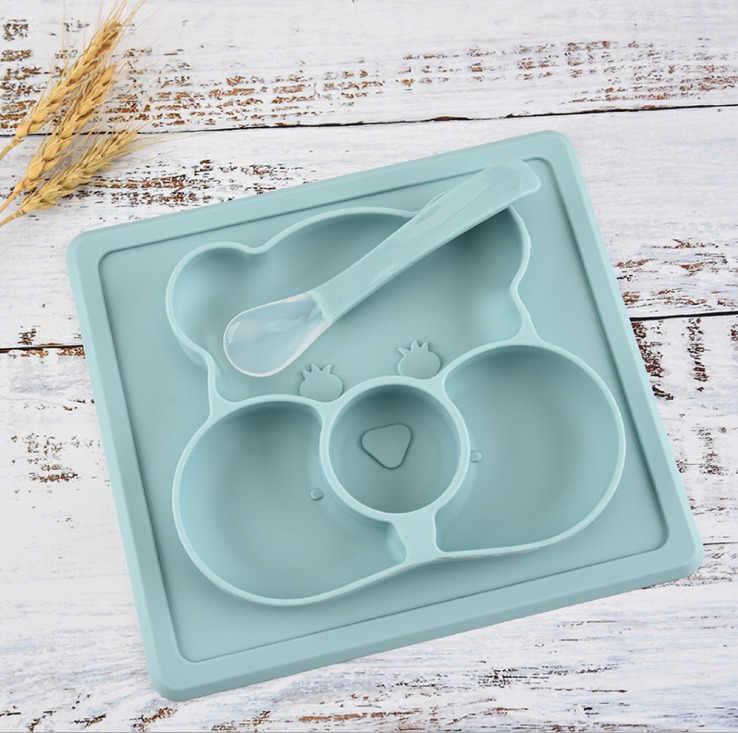 Placa de silicone bebê Crianças Tigela Pratos tigela pratos de sílica gel bebê de alimentação do bebê do silicone crianças talheres