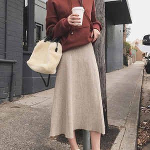 Image 2 - 2019 Winter Women Midi Skirts Korean Casual Ladies A line Flare High Waist Solid Knitted Knit Thick Long Sweater Skirt Women