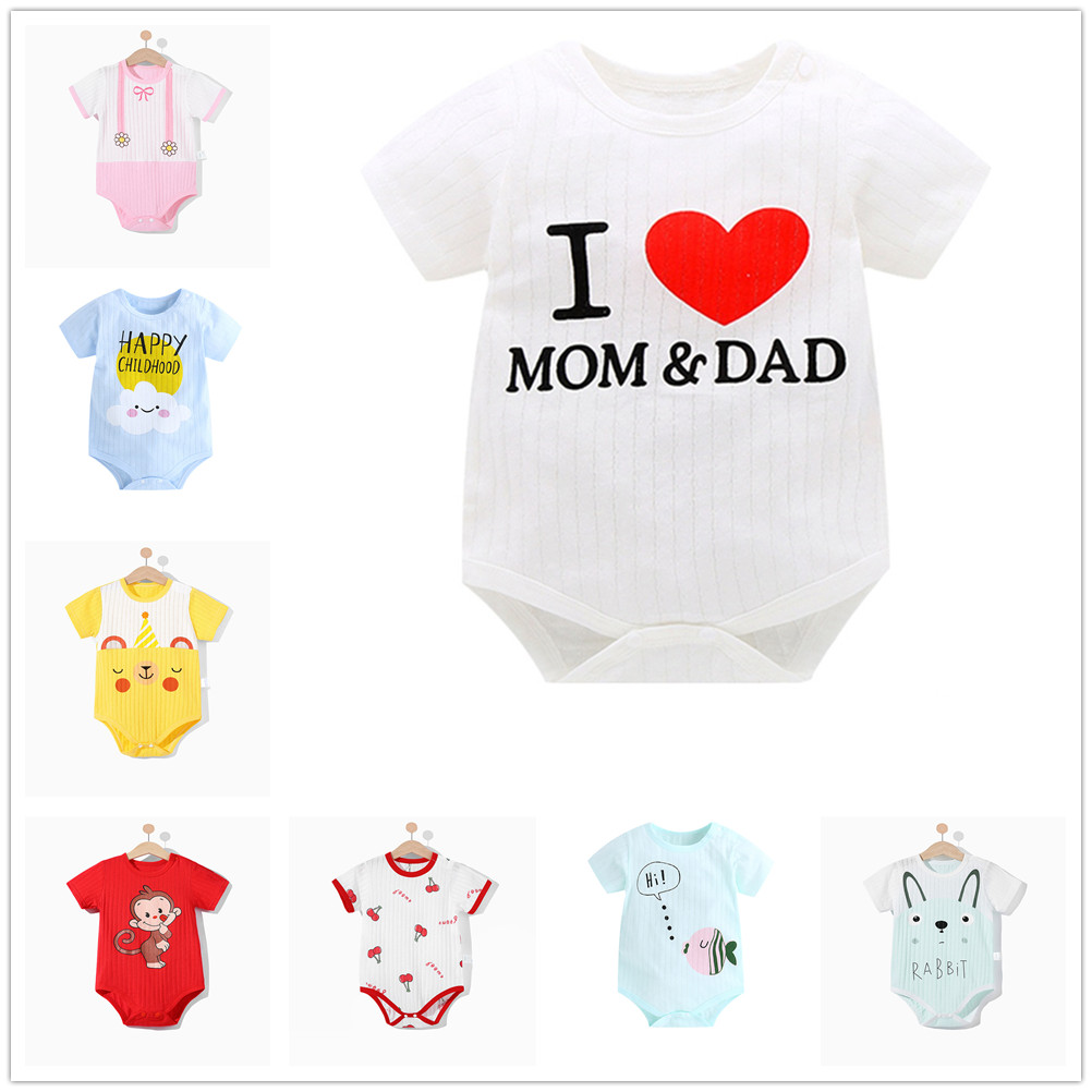 Newborn Baby Boys Girls 100% Cotton Rompers Infant Short Sleeves Cartoon Printed Jumpsuit Children Kids One-piece Clothes