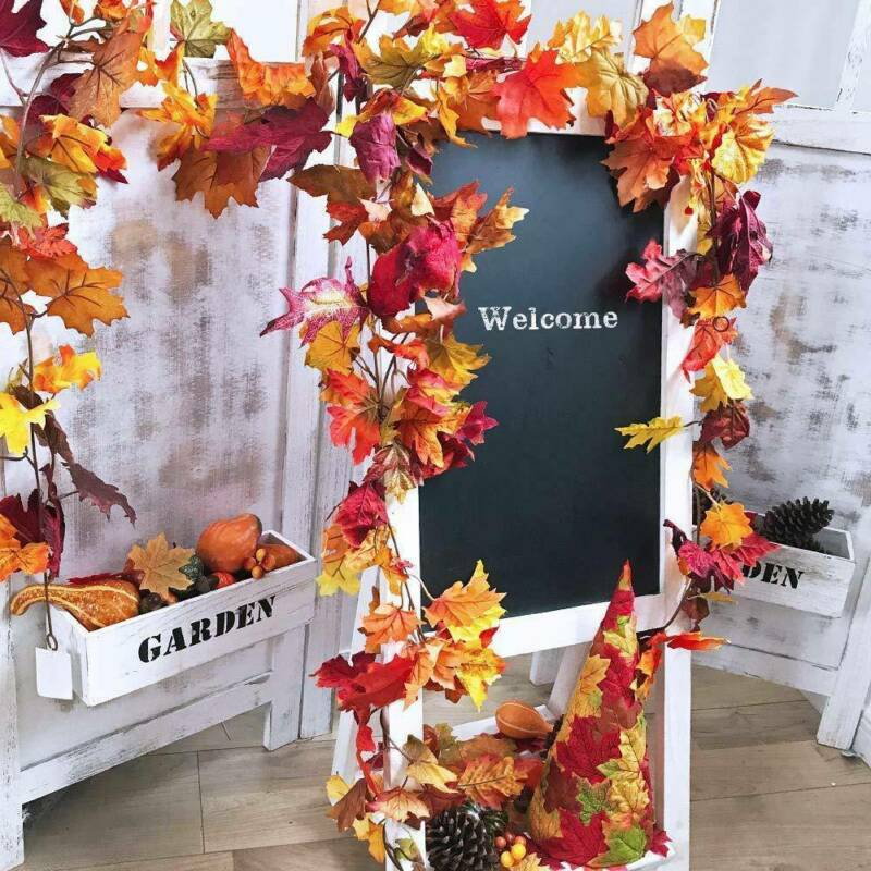 1.7M Artificial Autumn Fall Maple Leaves Garland Hanging Plant Home Party Decor Maple Leaves Garland Hanging Plant Home Garden