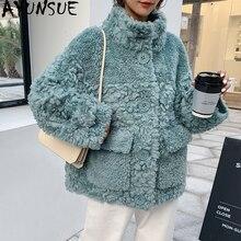 AYUNSUE veste en laine pour Femme, veste automne hiver, véritable fourrure de mouton, Manteau coréen rose, 100%