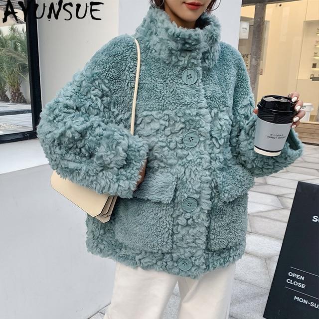 Ayunsu معطف الفرو الحقيقي الإناث الأغنام القص الخريف الشتاء سترة المرأة 100% معطف الصوف الكورية الوردي جاكيتات Manteau فام SGT 007
