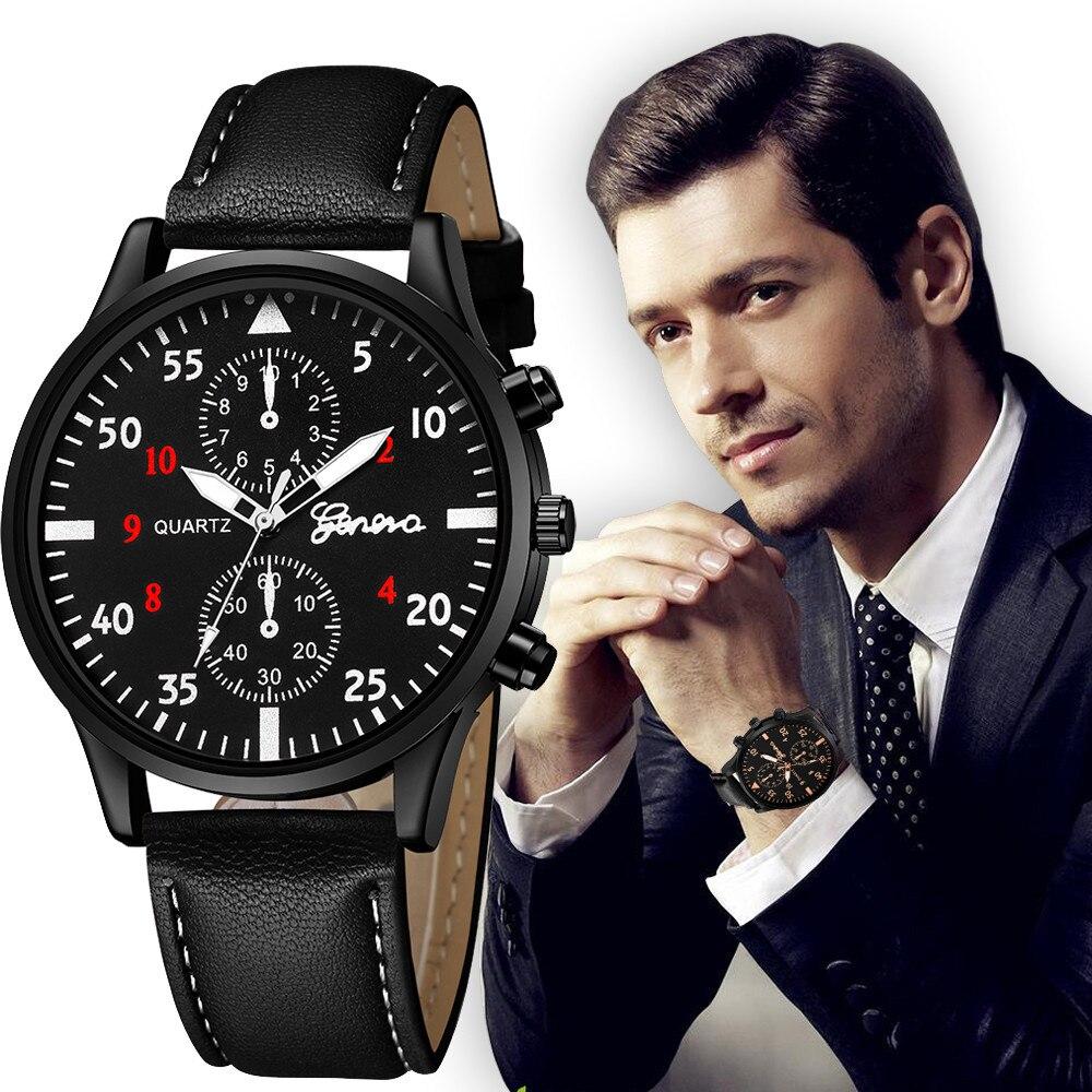 Geneva Luxury Mens' Watches Business Quartz Watch Sport Male Wrist Watch Waterproof Fashion Leather Belt Clock Relogio Masculino
