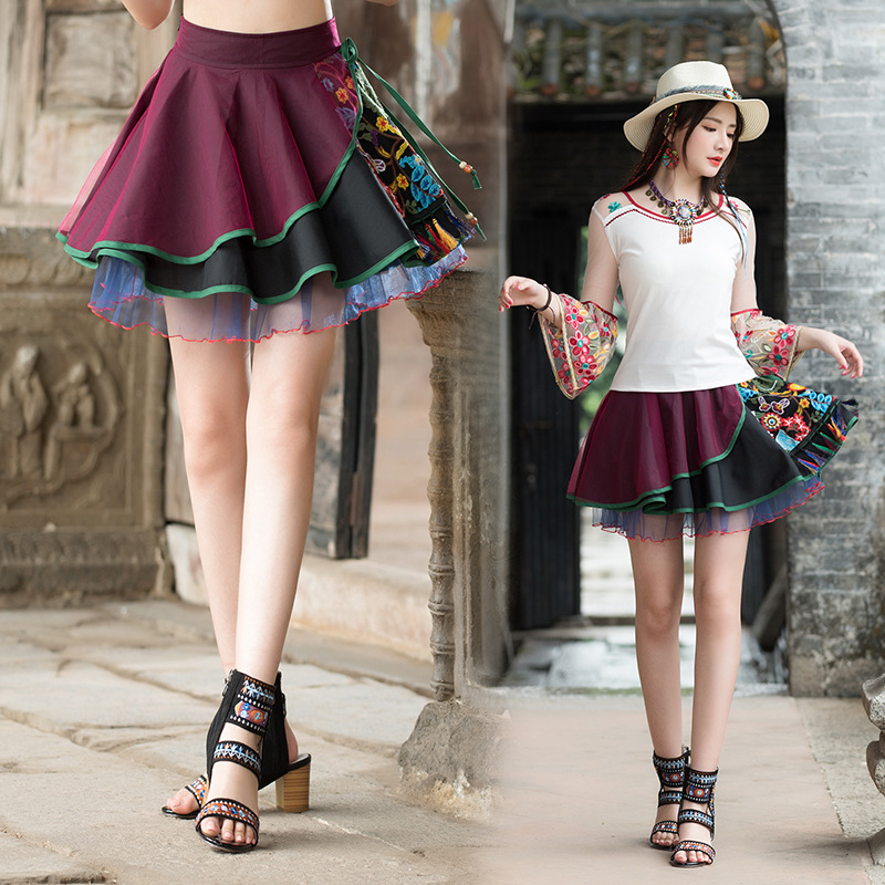 2019 Summer New Style Retro National Wind WOMEN'S Dress Embroidery Gauze Skirt Puffy Small Short Skirt