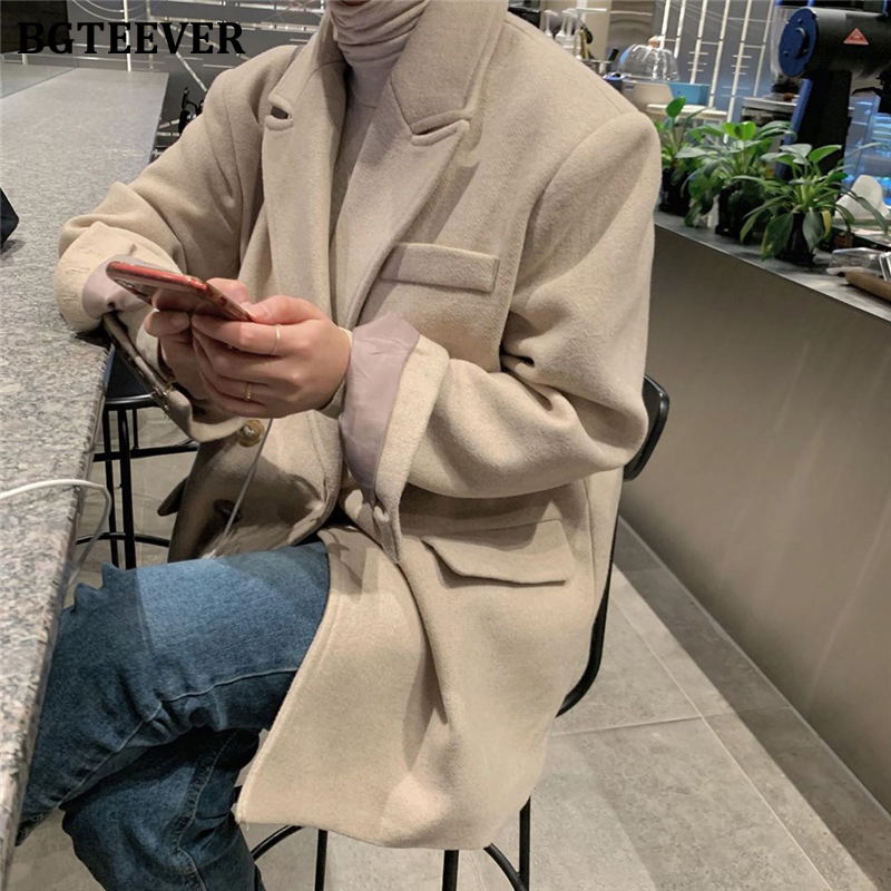 BGTEEVER 2019 Winter Thicken Suit Coat Female Double-breasted Vintage Women Blend Blazer Notch Collar Woolen Jacket Femme