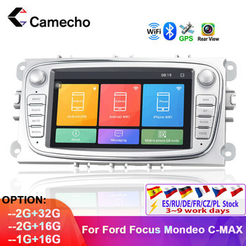 Camecho Android 8.1 Car Multimedia Player Autoradio 2din 7'' Car Radio GPS Navigation For Ford Focus 2 S Max Galaxy C-Max 2G RAM image