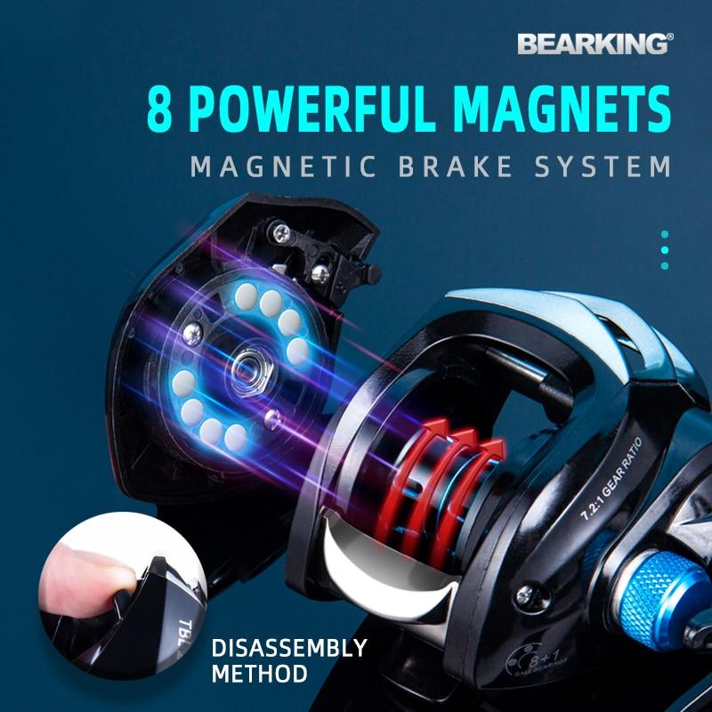 BEARKING Baitcasting Reel 8KG Max Drag 7.2:1 High Speed Fishing Reel Reinforced Reel Drag Reel Carp Drag Reel Fishing 2