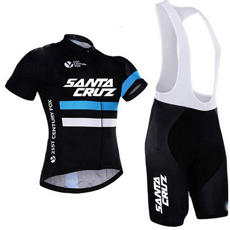 SANTA CRUZ Cycling Jersey sets team Bicycle Short Sleeve Cycling Clothing Bike maillot Cycling Jersey Bib shorts