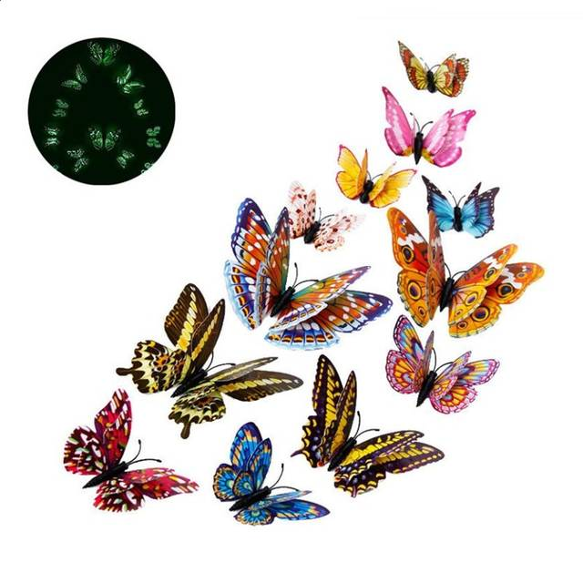 3d butterfly wall stckers wall decors wall art wall.htm 12pcs set 3d luminous double layer butterfly wall sticker  double layer butterfly wall sticker
