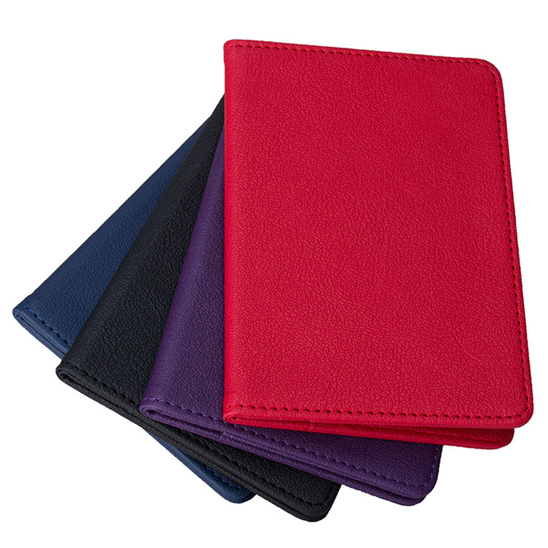 New Solid Color Travel Passport Holder Cover ID Card Ticket Pouch Bag Protector PU Leather Credit Card Red Blue Bags Cover