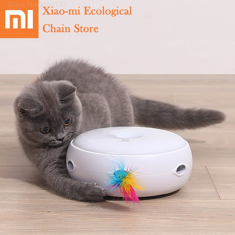 Xiaomi Smart Interactive Cat Toy Teasing Cat Stick Game Electric Self Rotating Turntable Pets Playing Toys Motion Activated Toy