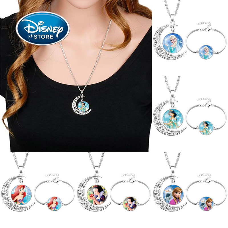 Disney Classic Cartoon Princess Frozen Suit Gemstone Elsa Anna Alloy Bracelet Necklace Set For Girl Fashion Dress Up Toy Jewelry